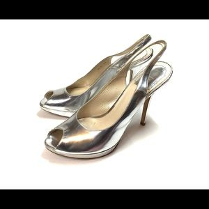 Women's Dior Metallic Silver Slingback Heels